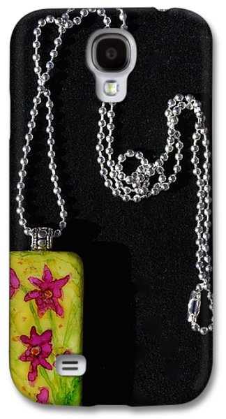 Flower Jewelry Galaxy S4 Cases - Field Of Flowers Domino Pendant Galaxy S4 Case by Beverley Harper Tinsley