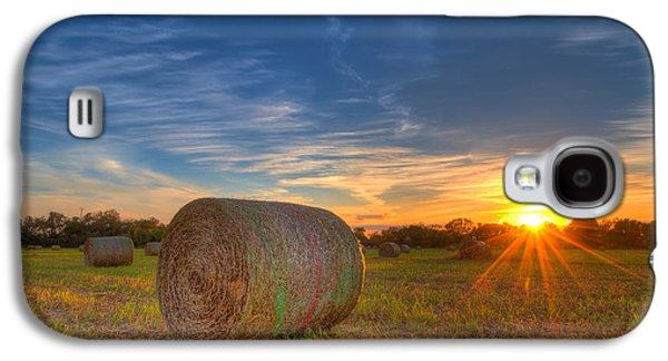 Sunset Galaxy S4 Cases - A Hay Bale Sunset Galaxy S4 Case by Tim Stanley