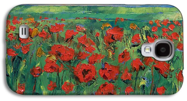 Field. Cloud Paintings Galaxy S4 Cases - Field of Red Poppies Galaxy S4 Case by Michael Creese