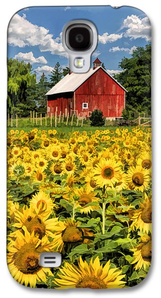 Red Barns Galaxy S4 Cases - Field of Sunflowers Galaxy S4 Case by Christopher Arndt
