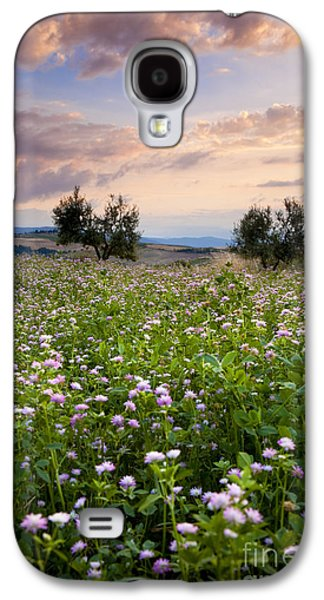 Tuscan Sunset Galaxy S4 Cases - Field of wildflowers Galaxy S4 Case by Brian Jannsen
