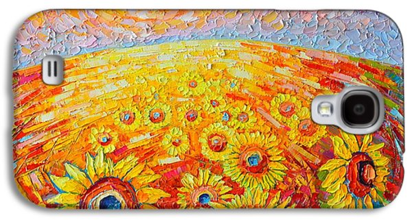 Tuscan Sunset Paintings Galaxy S4 Cases - Fields Of Gold - Abstract Landscape With Sunflowers In Sunrise Galaxy S4 Case by Ana Maria Edulescu