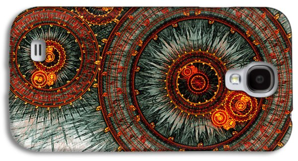 Abstract Digital Galaxy S4 Cases - Fiery  clockwork Galaxy S4 Case by Martin Capek
