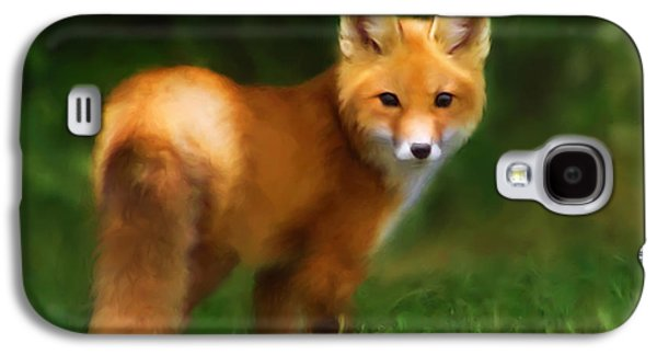 Dog Close-up Paintings Galaxy S4 Cases - Fiery Fox Galaxy S4 Case by Christina Rollo