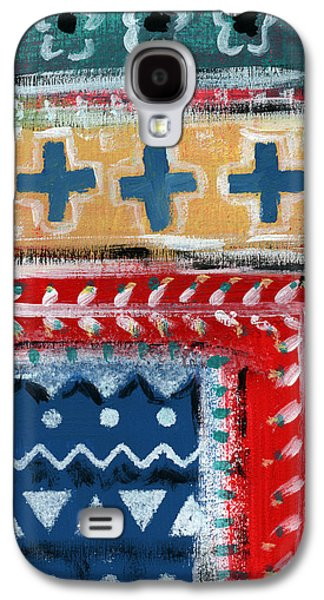 Patterned Mixed Media Galaxy S4 Cases - Fiesta 3- colorful pattern painting Galaxy S4 Case by Linda Woods