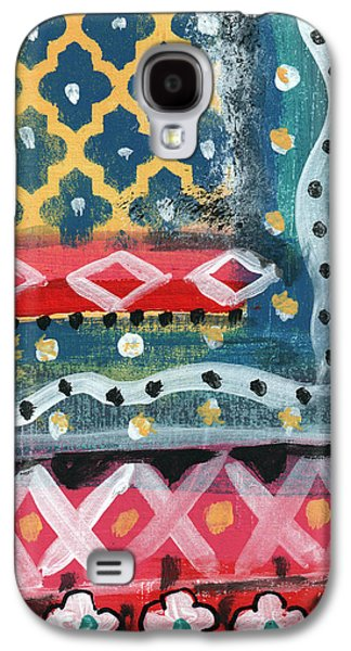 Patterned Mixed Media Galaxy S4 Cases - Fiesta 4- colorful pattern painting Galaxy S4 Case by Linda Woods