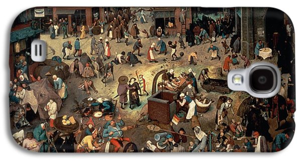 Caricatures Galaxy S4 Cases - Fight Between Carnival And Lent, 1559 Oil On Oak Panel Galaxy S4 Case by Pieter the Elder Bruegel
