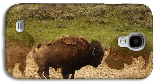 Bison Mixed Media Galaxy S4 Cases - Fighting Buffalo Galaxy S4 Case by Dan Sproul