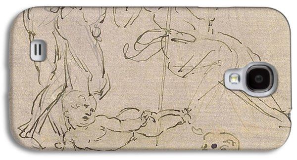 Christ Child Galaxy S4 Cases - Figural Study for the Adoration of the Magi Galaxy S4 Case by Leonardo Da Vinci