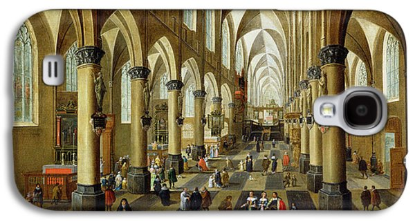 Gothic Galaxy S4 Cases - Figures Gathered In A Church Interior, 17th Century Galaxy S4 Case by Pieter the Younger Neeffs