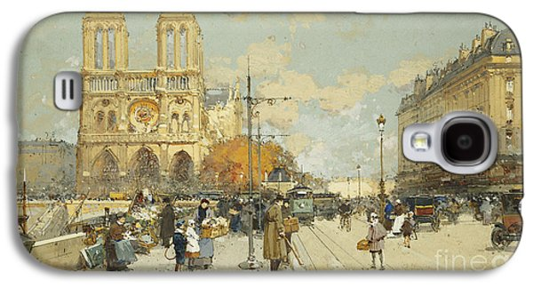 19th Century Galaxy S4 Cases - Figures on a Sunny Parisian Street Notre Dame at left Galaxy S4 Case by Eugene Galien-Laloue