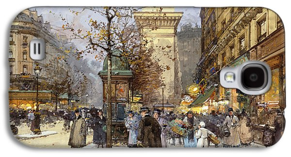 Wintry Galaxy S4 Cases - Figures on Le Boulevard St. Denis at Twilight Galaxy S4 Case by Eugene Galien-Laloue