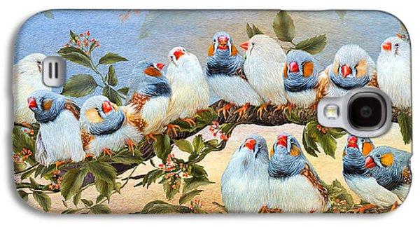 Tree Print Mixed Media Galaxy S4 Cases - Finch Family Tree Galaxy S4 Case by Carol Cavalaris