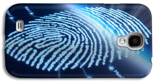 Dark Digital Art Galaxy S4 Cases - Fingerprint on pixellated screen Galaxy S4 Case by Johan Swanepoel