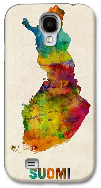 Map Galaxy S4 Cases - Finland Watercolor Map Suomi Galaxy S4 Case by Michael Tompsett