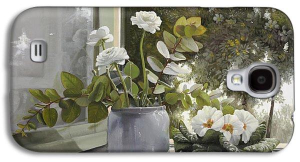 Vase Paintings Galaxy S4 Cases - Fiori Bianchi Alla Finestra Galaxy S4 Case by Danka Weitzen