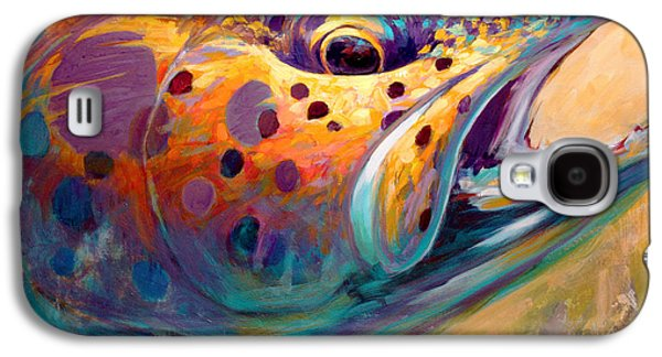 Brown Galaxy S4 Cases - Fire From Water - Rainbow Trout Contemporary Art Galaxy S4 Case by Mike Savlen