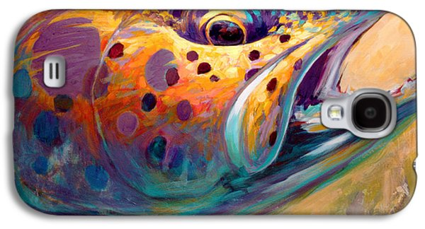 Fly Galaxy S4 Cases - Fire From Water - Rainbow Trout Contemporary Art Galaxy S4 Case by Mike Savlen