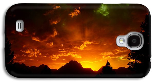 Sunset Abstract Galaxy S4 Cases - Fire On The Mountain - Grand Teton National Park Galaxy S4 Case by Aidan Moran