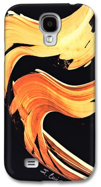 Orange Mixed Media Galaxy S4 Cases - FireWater 5 - Abstract Art By Sharon Cummings Galaxy S4 Case by Sharon Cummings