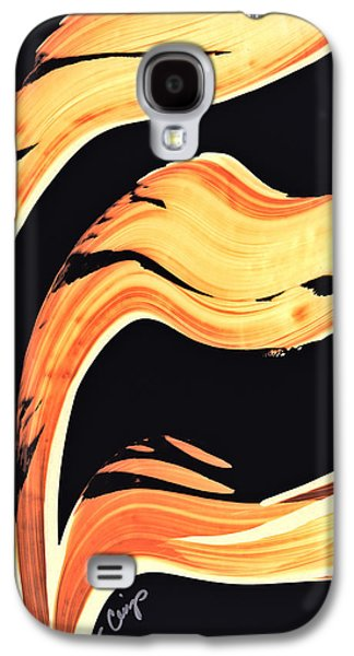 Orange Mixed Media Galaxy S4 Cases - FireWater 6 - Warm Modern Art By Sharon Cummings Galaxy S4 Case by Sharon Cummings