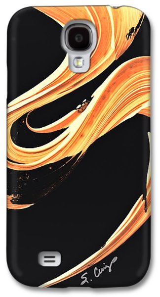 Orange Mixed Media Galaxy S4 Cases - FireWater 7 - Abstract Art By Sharon Cummings Galaxy S4 Case by Sharon Cummings