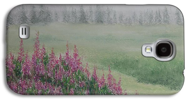 Fog Mist Pastels Galaxy S4 Cases - Fireweeds Still In The Mist Galaxy S4 Case by Stanza Widen