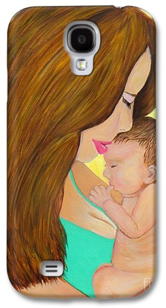 First Lady Galaxy S4 Cases - First Kiss- Mother and Newborn Baby Galaxy S4 Case by Shelia Kempf