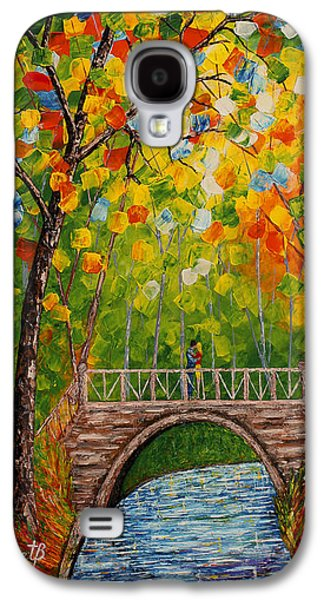 First Love Galaxy S4 Cases - First Kiss On The Bridge original acrylic palette knife painting Galaxy S4 Case by Georgeta Blanaru