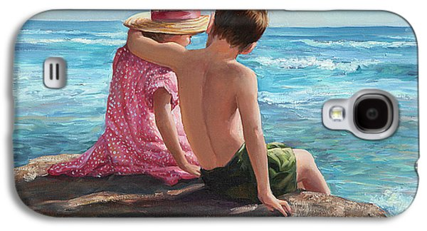 Sisters Paintings Galaxy S4 Cases - First Love by the Seashore Galaxy S4 Case by Laurie Hein