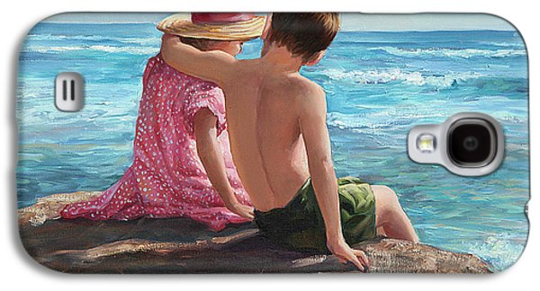 Beach Landscape Galaxy S4 Cases - First Love by the Seashore Galaxy S4 Case by Laurie Hein
