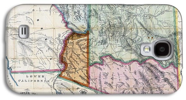 Old Map Digital Galaxy S4 Cases - FIRST MAP of ARIZONA TERRITORY  1865 Galaxy S4 Case by Daniel Hagerman