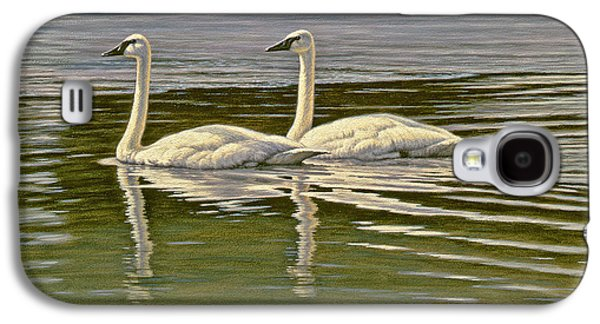 Swans... Paintings Galaxy S4 Cases - First Open Water - Trumpeters Galaxy S4 Case by Paul Krapf