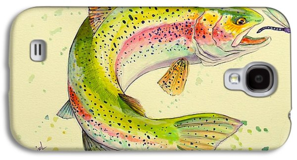 Salmon Paintings Galaxy S4 Cases - Fish after Dragon Galaxy S4 Case by Yusniel Santos