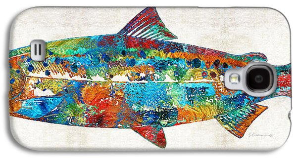 Salmon Paintings Galaxy S4 Cases - Fish Art Print - Colorful Salmon - By Sharon Cummings Galaxy S4 Case by Sharon Cummings