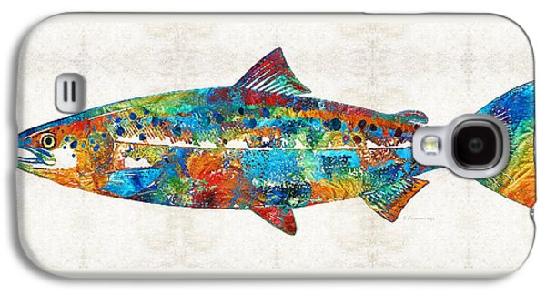 Fish Art Print - Colorful Salmon - By Sharon Cummings Galaxy S4 Case by Sharon Cummings