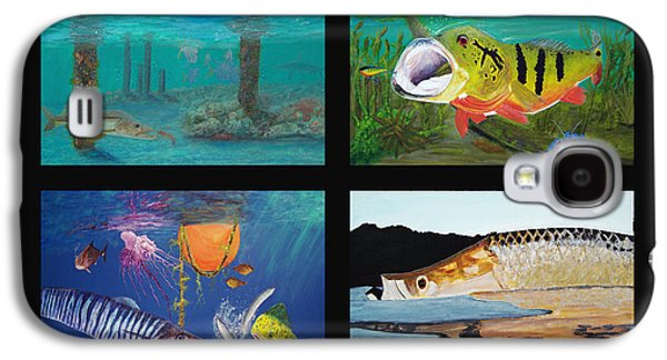 Triggerfish Paintings Galaxy S4 Cases - Fish Collage Galaxy S4 Case by Ken Figurski