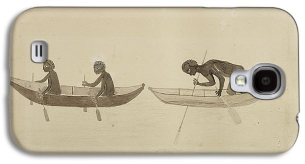 Fisherman In Small Wooden Canoes Galaxy S4 Case by British Library