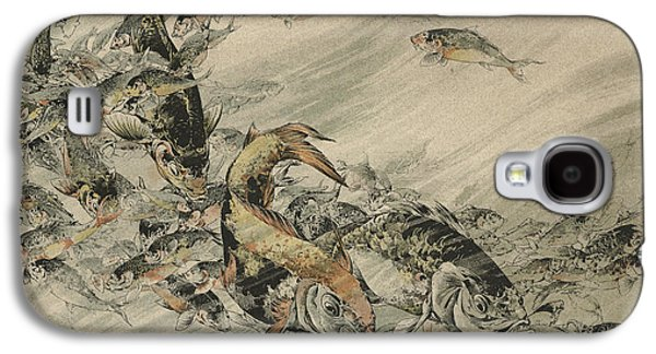 Aquatic Drawings Galaxy S4 Cases - Fishes Galaxy S4 Case by Jules-Auguste Habert-Dys