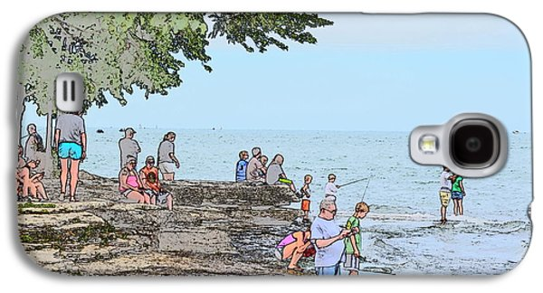 Historic Site Drawings Galaxy S4 Cases - Fishing at Marblehead Galaxy S4 Case by Jim Steinmiller