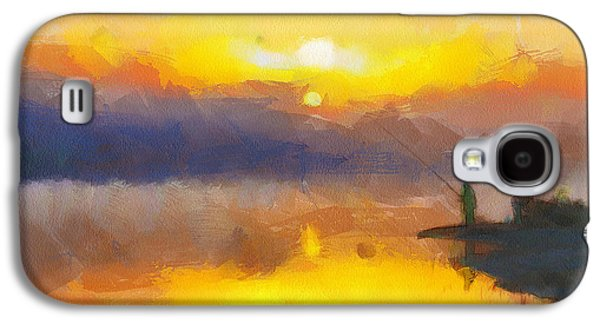 House Pet Digital Art Galaxy S4 Cases - Fishing at Sunset Galaxy S4 Case by Yury Malkov
