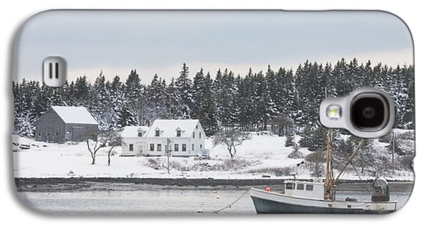 Maine Winter Galaxy S4 Cases - Fishing Boat After Snowstorm in Port Clyde Harbor Maine Galaxy S4 Case by Keith Webber Jr
