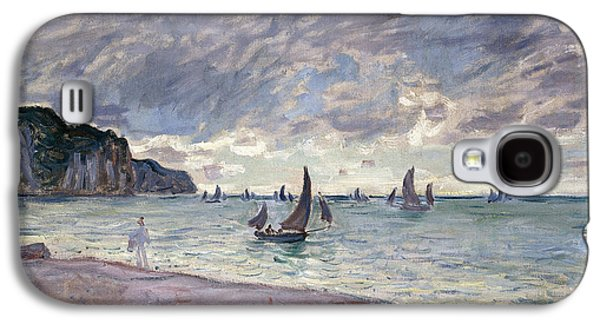 Water Vessels Paintings Galaxy S4 Cases - Fishing Boats in front of the Beach and Cliffs of Pourville Galaxy S4 Case by Claude Monet