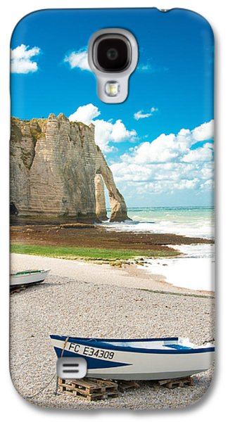 Transportation Photographs Galaxy S4 Cases - Fishing Boats on the Beach at Etretat Galaxy S4 Case by Loriental Photography