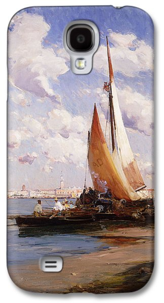 Water Vessels Paintings Galaxy S4 Cases - Fishing Craft with the Rivere degli Schiavoni Venice Galaxy S4 Case by E Aubrey Hunt