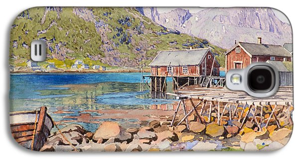 Steer Paintings Galaxy S4 Cases - Fishing Docks Galaxy S4 Case by Gunnar Widforss