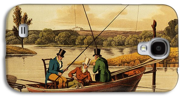 Posters On Paintings Galaxy S4 Cases - Fishing in a Punt Galaxy S4 Case by Henry Thomas Alken