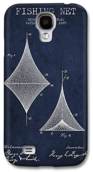 Reeling Galaxy S4 Cases - Fishing Net Patent from 1889- Navy Blue Galaxy S4 Case by Aged Pixel