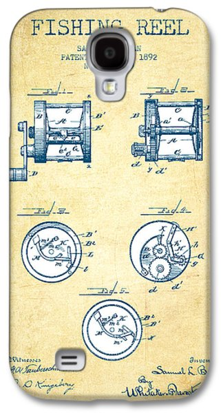 Reeling Galaxy S4 Cases - Fishing Reel Patent from 1892 - Vintage Paper Galaxy S4 Case by Aged Pixel