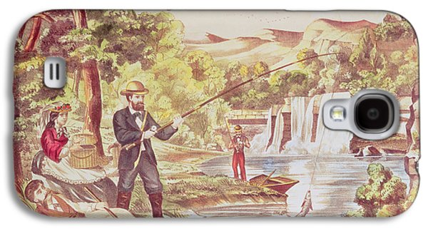 Toy Boat Galaxy S4 Cases - Fishing Scene Colour Litho Galaxy S4 Case by Chas Hart